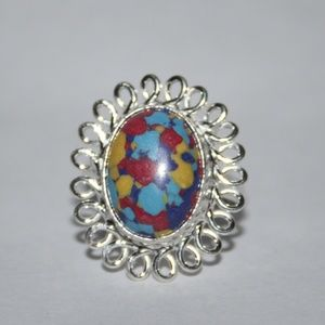 NWOT stunning silver colorful ring 7.75